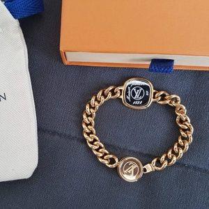 Louis Vuitton Goldtone Chainlink ID Bracelet